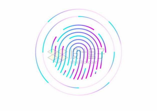 彩色指纹识别技术图案681599png图片素材