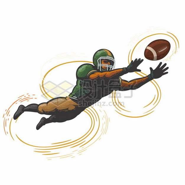 玩橄榄球的球员彩绘漫画插画844207png图片素材
