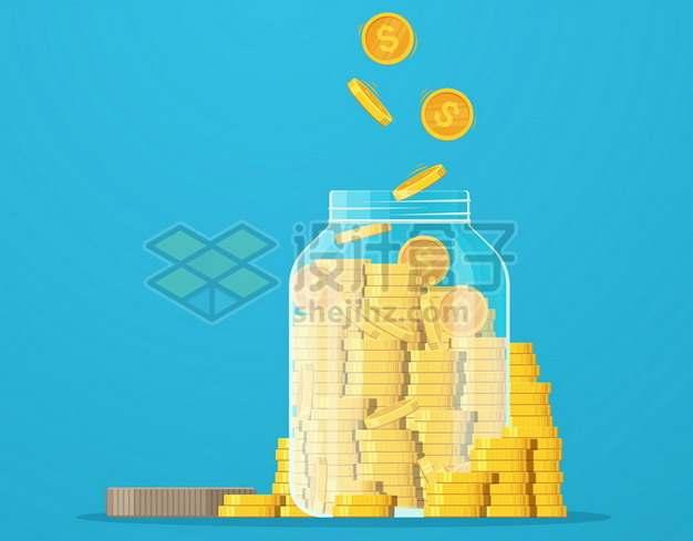 白色玻璃罐储蓄罐和金币584379png图片素材