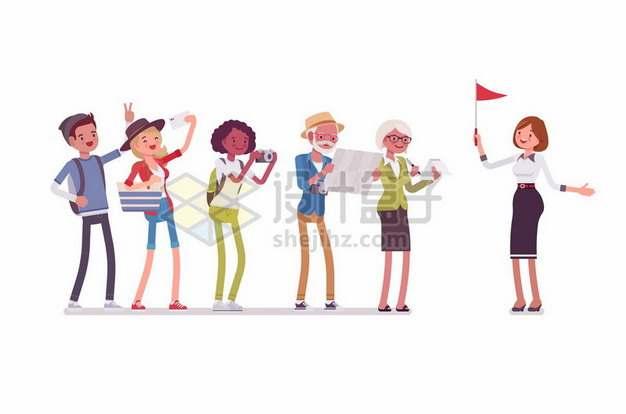 卡通女导游举着旗帜引导游客766796png图片素材