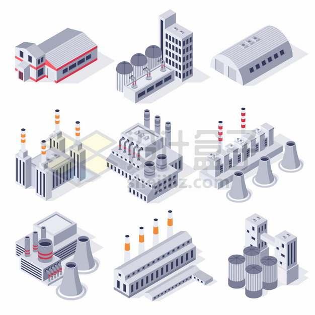 9款银灰色的2.5D风格工厂厂房烟囱冷却塔等487187png图片素材