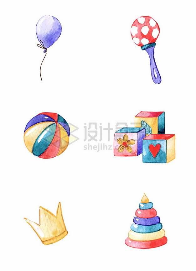 紫色气球金色皇冠等儿童玩具水彩插画313524png图片素材