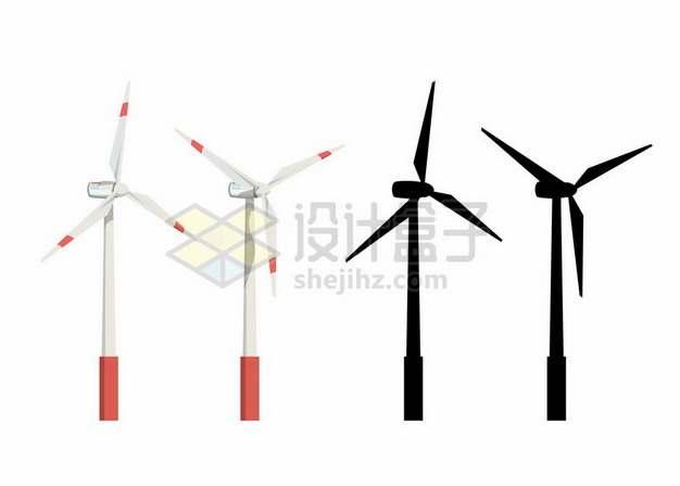 风力发电机剪影198815png图片素材