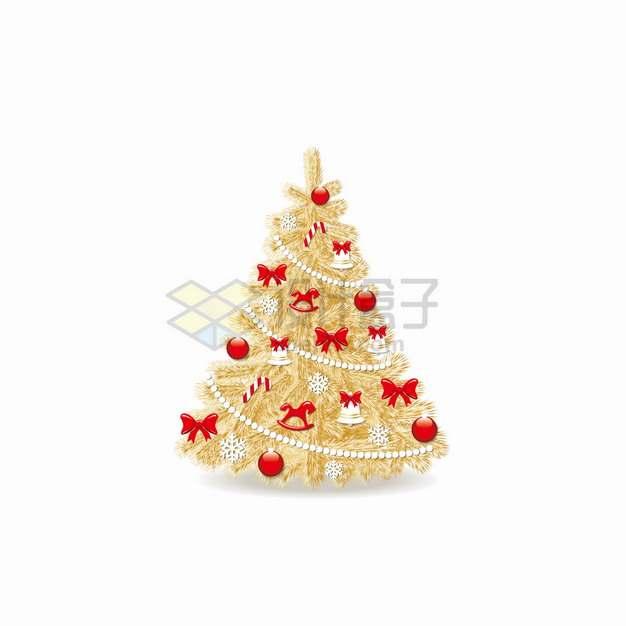 金色圣诞树上的各种装饰圣诞节png图片素材