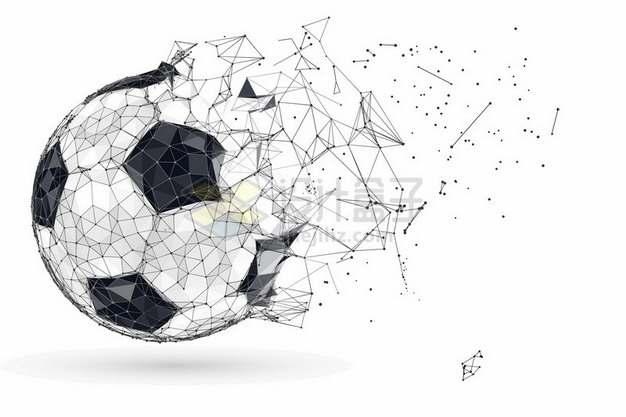 多边形组成破碎的抽象足球913918png图片素材