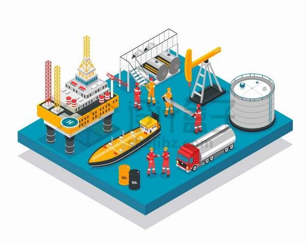 海上钻井平台磕头机油轮油罐车石油开采存储工业png图片素材