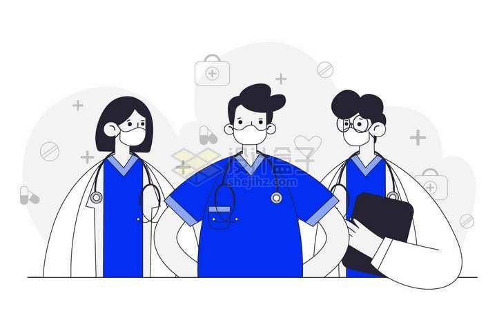 漫画风格戴口罩的三个医生手绘插画png图片免抠矢量素材