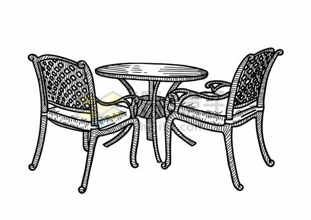 户外椅子桌子线条素描插画167810png矢量图片素材 插画-第1张
