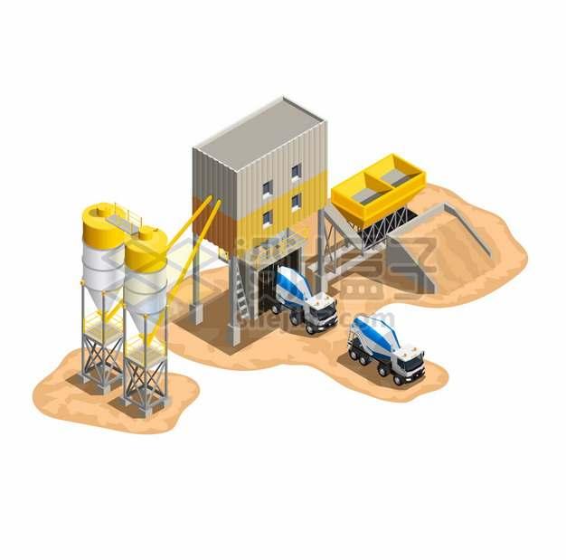 2.5D风格黄沙水泥搅拌机械和水泥车png图片素材