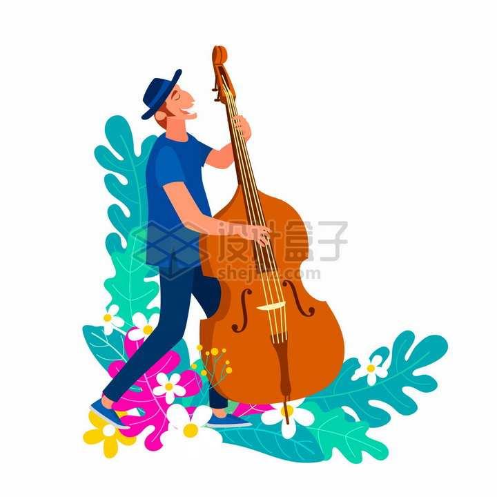 国际爵士乐日演奏大提琴的音乐家扁平插画png图片免抠矢量素材