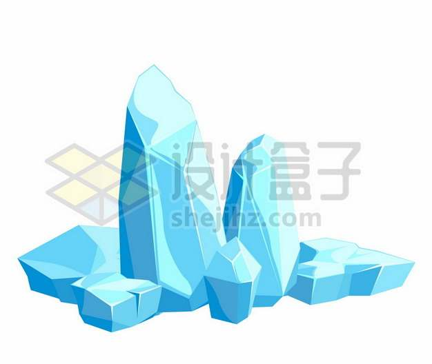 蓝色的卡通漫画冰山冰块101144png图片素材
