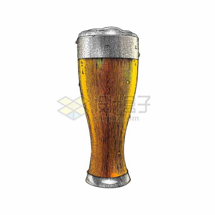 冒着气泡的啤酒杯彩色手绘素描插画png图片免抠矢量素材