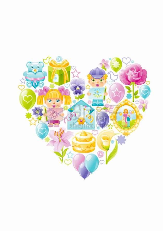 卡通礼物儿童花朵蛋糕等组成的心形符号png图片素材