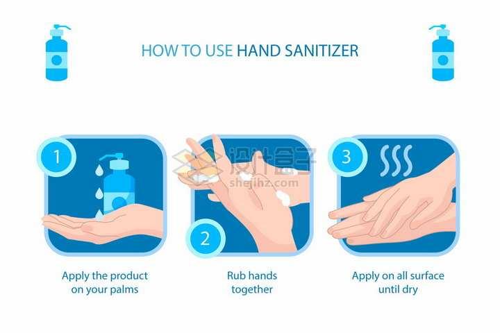 如何正确的使用洗手液宣传插图png图片免抠矢量素材