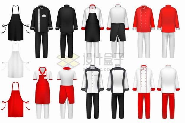 黑色白色红色等厨师服装围裙等png图片素材