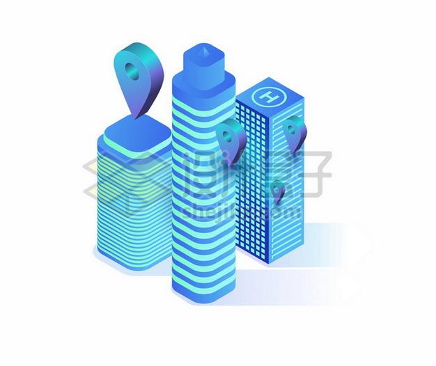 发光的蓝色城市建筑高楼大厦234709png矢量图片素材 建筑装修-第1张