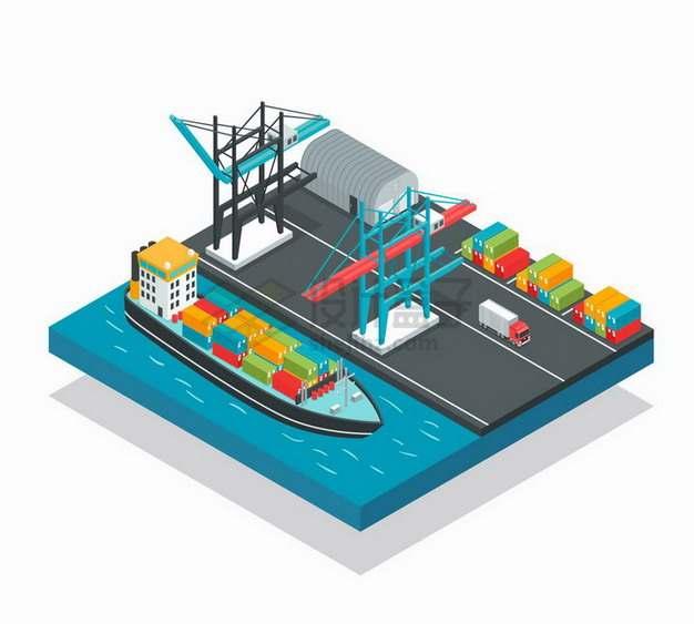 2.5D风格港口码头的轮船吊车和集装箱物流快递行业png图片免抠矢量素材