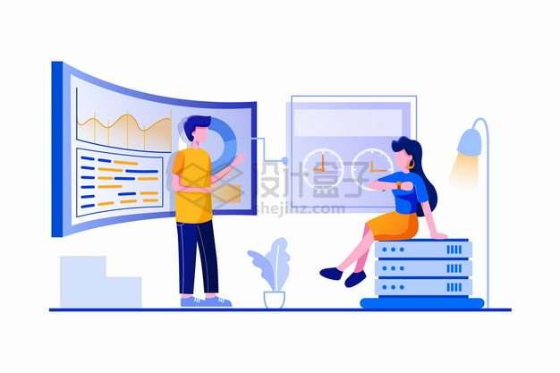 开发团队程序员正在分析实时数据来分析客户扁平插画png图片素材