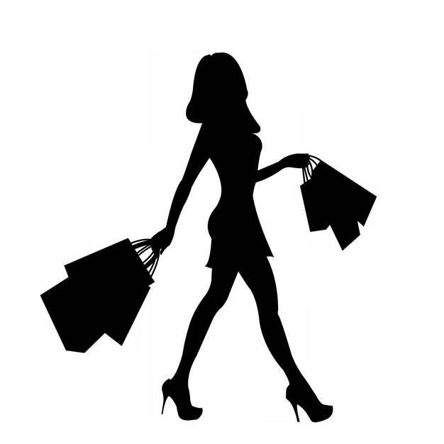 时髦女郎拿着购物袋商场采购剪影370840png图片免抠素材