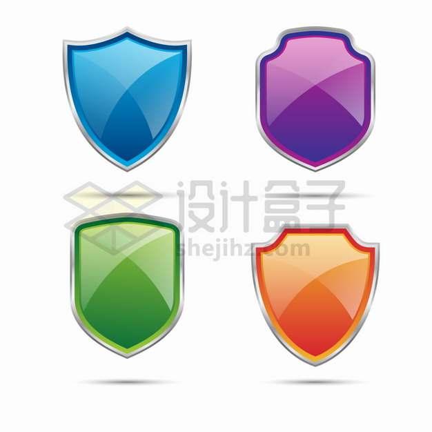 蓝色紫色绿色和橙色水晶盾牌金属边框png图片素材