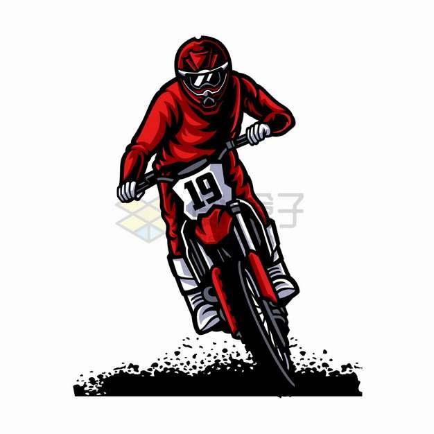 红衣服碾压地面的骑越野摩托车特技表演卡通漫画插画png图片素材