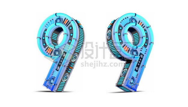 C4D风格蓝色机械3D立体数字九9艺术字体694793psd/png图片素材 字体素材-第1张