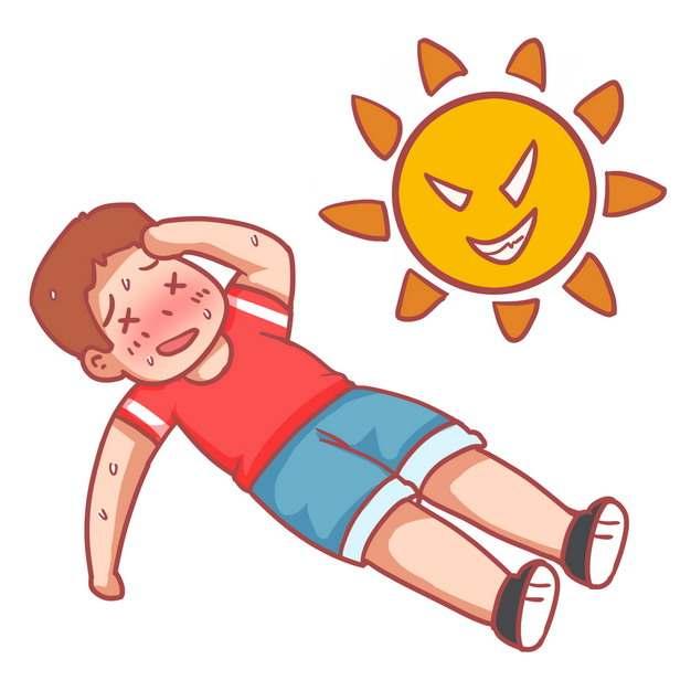 卡通太阳炎热的夏天中暑倒在地上的卡通男孩881302png图片素材