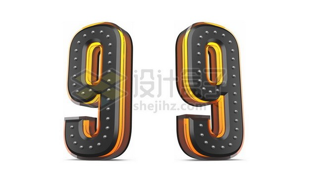 C4D风格黄色黑色3D立体数字九9艺术字体562155psd/png图片素材 字体素材-第1张