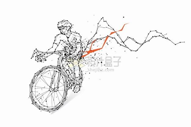 黑色点和线条组成的骑自行车图案png图片素材 交通运输-第1张