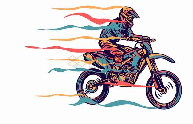 带有彩色飘带前行中的越野摩托车手绘漫画插画png图片素材