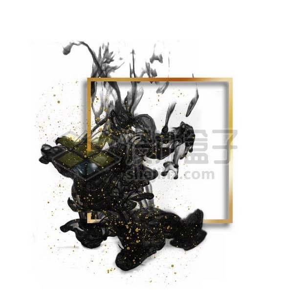 墨水烟雾水墨装饰的金色方形边框文本框标题框信息框193542psd/png图片素材