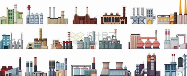 21款卡通风格工厂厂房建筑png图片素材