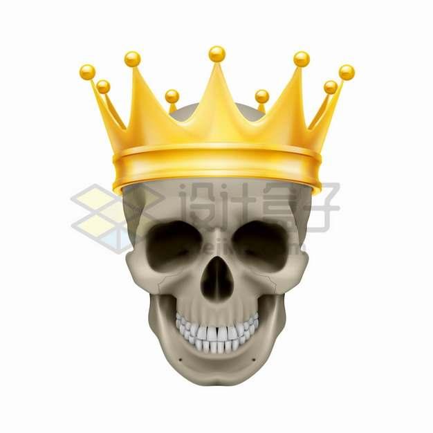 戴着金皇冠的骷髅头png图片素材