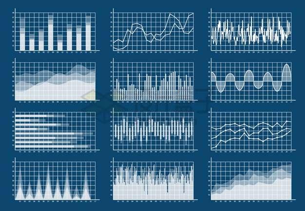 12款白色线条柱形图折线图曲线图条形图等PPT信息图表png图片素材