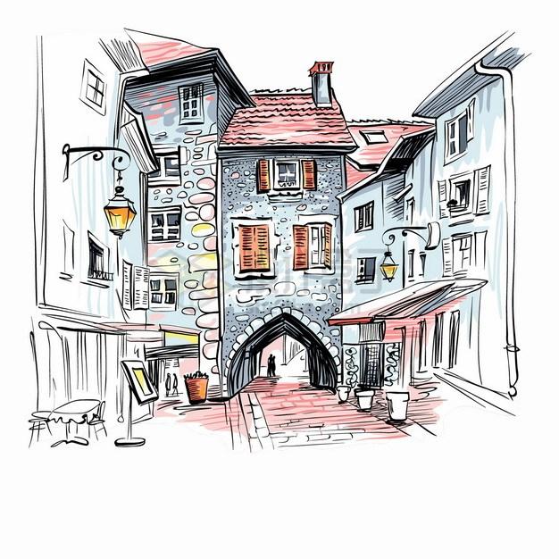 深深的巷子和拱门小镇城市风景水彩插画png图片素材 建筑装修-第1张