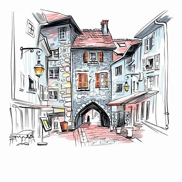 深深的巷子和拱门小镇城市风景水彩插画png图片素材