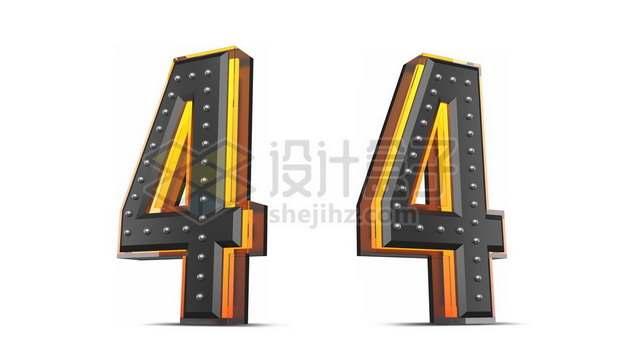 C4D风格黄色黑色3D立体数字四4艺术字体800700psd/png图片素材