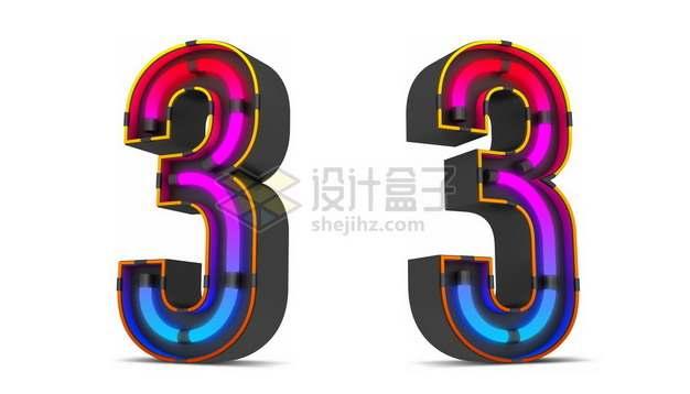 C4D风格紫红色霓虹灯管效果3D立体数字三3艺术字体894334psd/png图片素材