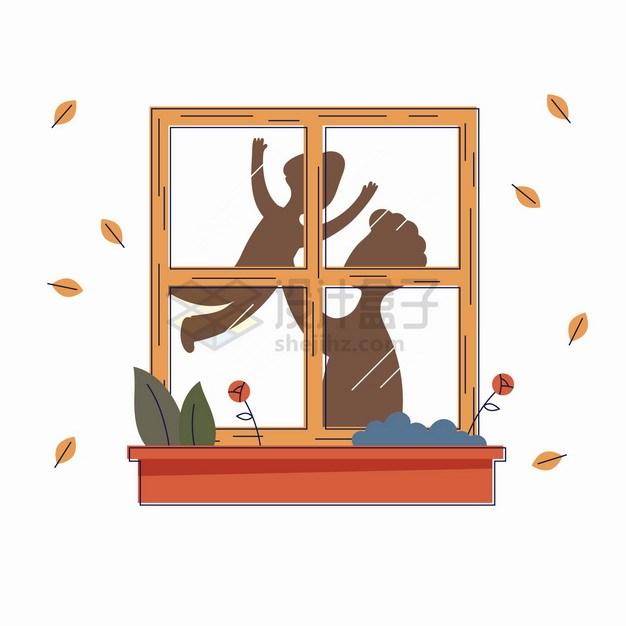 卡通爸爸抱着孩子玩耍窗户上的影子父亲节亲子关系手绘插画png图片素材 人物素材-第1张