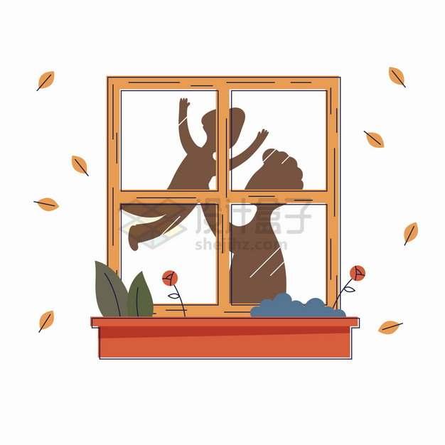 卡通爸爸抱着孩子玩耍窗户上的影子父亲节亲子关系手绘插画png图片素材