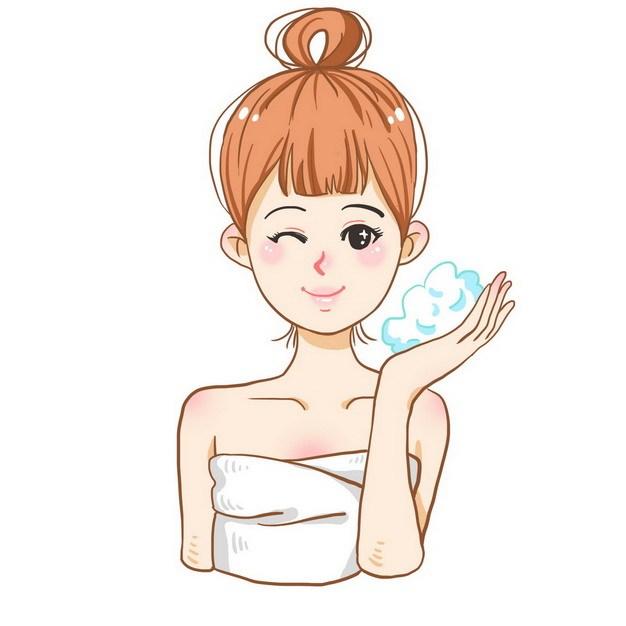 卡通美女正在洗澡玩肥皂泡962999png图片素材 休闲娱乐-第1张