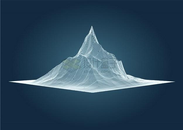 3D白色线条高山地形图png图片素材 科学地理-第1张