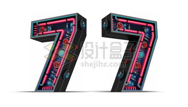 C4D风格红黑色3D立体数字七7艺术字体711171psd/png图片素材 字体素材-第1张