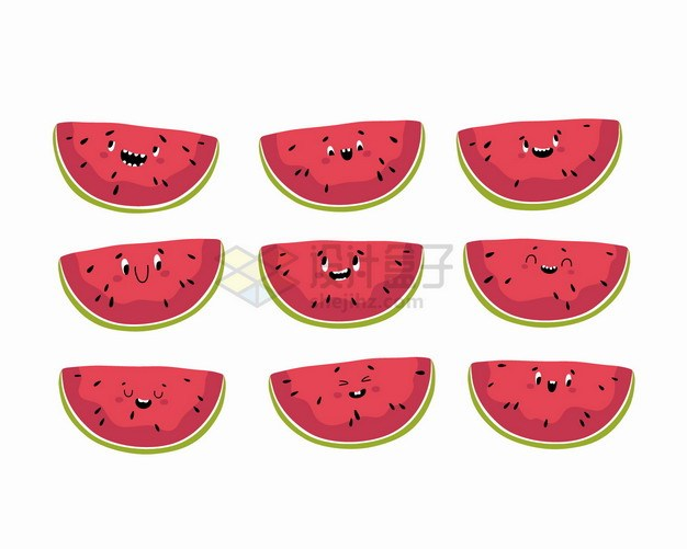 9款卡通西瓜美味水果表情包png图片素材 表情包-第1张