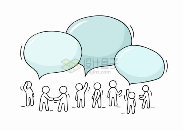 一群小白人正在聊天产生的对话框png图片素材