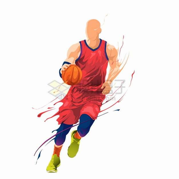 彩色气流篮球运动员打篮球png图片素材