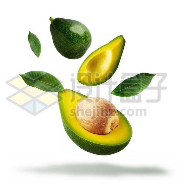 切开的牛油果和绿叶装饰522353psd/png图片素材 生活素材-第1张