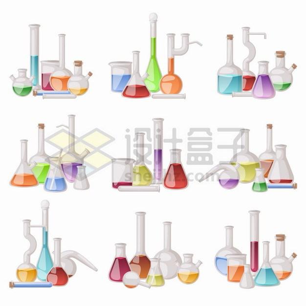 9款烧瓶锥形瓶量筒量杯等化学实验仪器套装png图片素材 科学地理-第1张