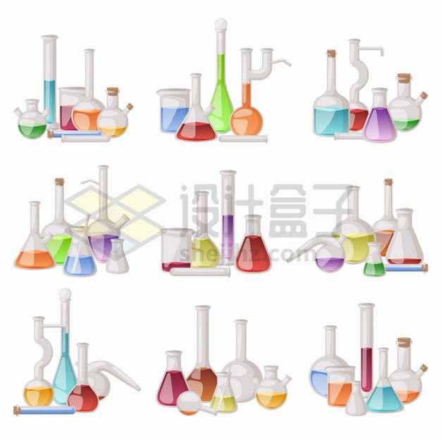 9款烧瓶锥形瓶量筒量杯等化学实验仪器套装png图片素材
