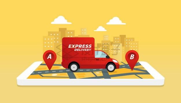 手机上送货的快递汽车png图片素材 交通运输-第1张